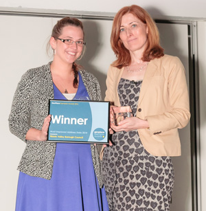 Ribble Valley Borough Council collect award from Helen Platts, GeoPlace Board member